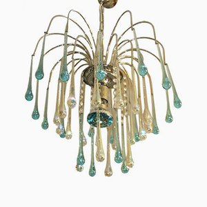 French Blue & Clear Glass Waterfall Chandelier, 1970s