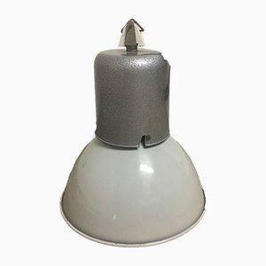 Lámpara de fábrica francesa industrial de aluminio y esmalte