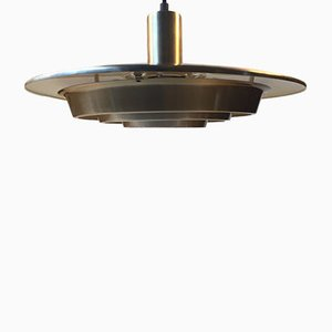 Mid-Century Tiered Flying Saucer Brass Pendant from Vitrika, 1960s
