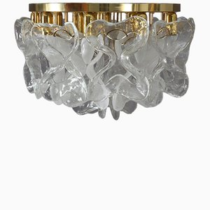 Crystal Glass Flush Mount Ceiling Light from J.T. Kalmar, 1970s