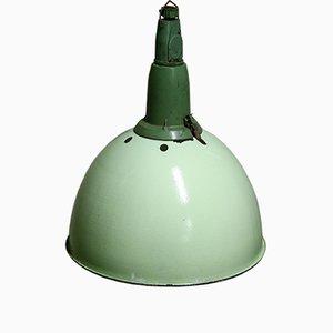 Lampada a sospensione industriale verde, anni '50