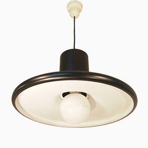 Lámpara colgante francesa industrial Mid-Century negra de Lita, 1960
