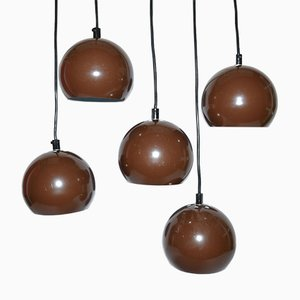 Mid-Century Danish Brown Bubble Pendant Lamps from E.S.Horn, 1970s, Set of 5
