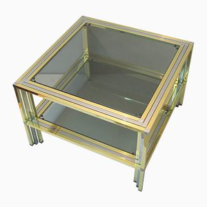 Vintage Chromed Metal and Brass Coffee Table, 1970s