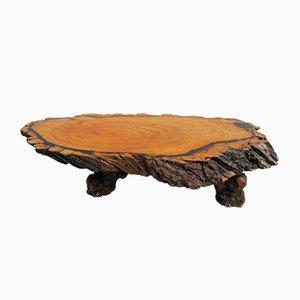 Mesa de centro grande de tronco de árbol, años 60