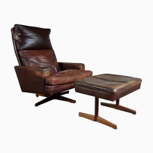 Leather Rosewood Chair & Footstool by Fredrik Kayser for Vatne Møbler, 1965