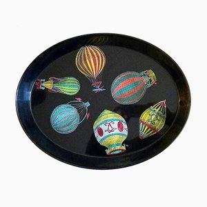 Palloni Metal Tray with Hot Air Balloons by Piero Fornasetti, 1955