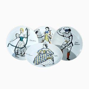 Platos Commedia dell'Arte Maschere Italiane vintage de porcelana de Piero Fornasetti. Juego de 4
