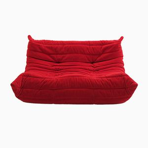 Vintage Red Leather Togo Sofa by Michel Ducaroy, 1970s