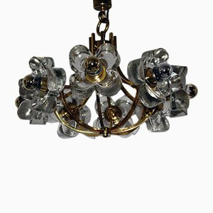 Lámpara de araña con elementos florales de vidrio de Simon und Schelle, años 60