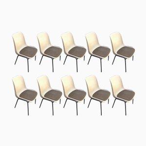 Sillas apilables vintage con asientos de tela. Juego de 10