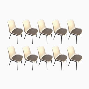 Vintage Stacking Chairs with Fabric Seats, Set of 10