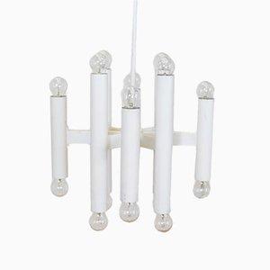 Lámpara colgante vintage de metal blanco