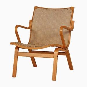 Chaise Easy Scandinave en Hêtre et Toile par, 1970s