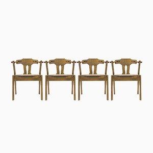 Mid-Century Eichenholz Esszimmerstühle, 4er Set