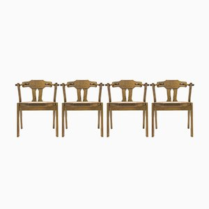 Mid-Century Oak Dining Chairs, Set of 4