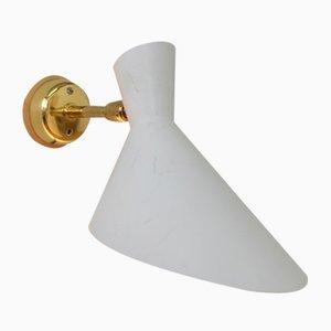 Schweizer Mid-Century Metall Wandlampe in Weiß