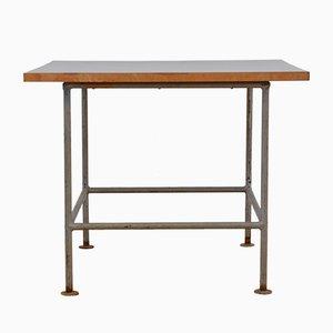 Table d'Appoint Vintage en Métal avec Plateau Noir