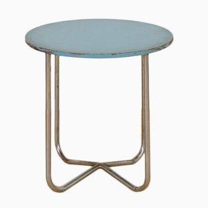 Mesa auxiliar vintage en azul pastel de acero tubular
