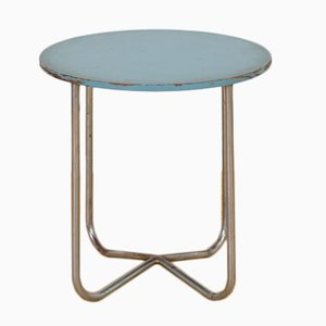 Tavolino vintage tubulare in acciaio blu