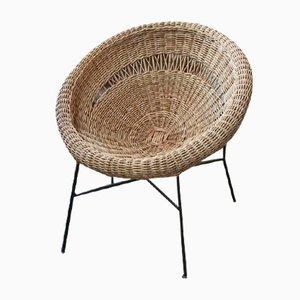 Vintage Korbgeflecht Sessel in Muschelform
