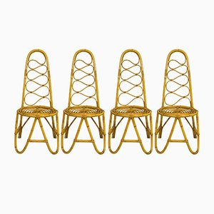 French Rattan Chairs, 1960s, Set of 4