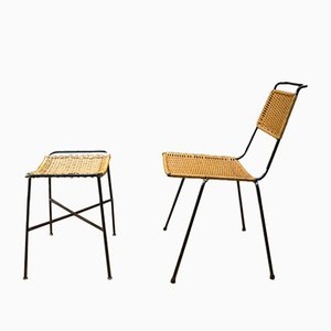 Mid-Century Wicker Chair and Stool by Paul Schneider Esleben, Set of 2