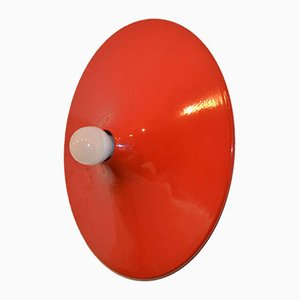 Mid-Century Italian Red Ceiling Light by Stilnovo, 1970s