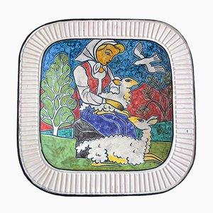 Piatto Mid Century in ceramica di Erik Pløen, Norvegia, anni '60