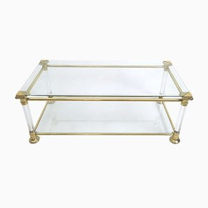 Mesa de centro italiana vintage de cristal, plexiglás y latón, años 80