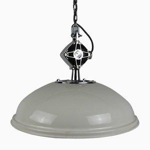 Weiße DDR Fabriklampe von VEB Lampenbau Leipzig