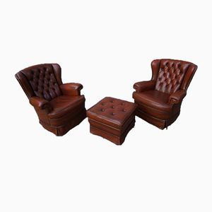Vintage Tufted Leather Wingback Armchairs with Ottoman, 1980s, Set of 3