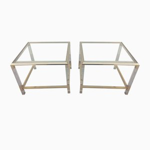 Mid-Century French Perspex and Brass Sidetables, Set of 2