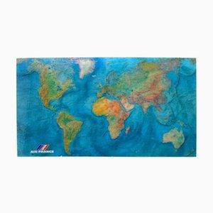 Carte du Monde Vintage en Acrylique par M. Morel pour Air France, 1980