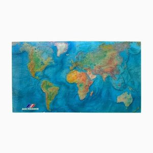 Vintage Acrylic World Map by M. Morel for Air France, 1980