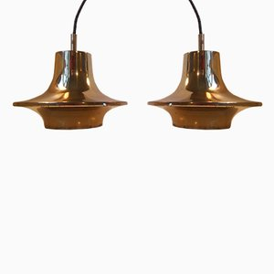 Solid Brass Pendant Lamps by Hans-Agne Jakobsson for Markaryd, 1960s, Set of 2