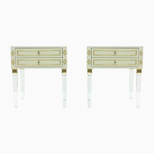 Lucite, Wood and Brass Nightstands, 1970s, Set of 2