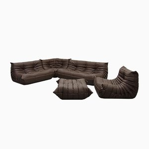 Mid-Century Brown Leather Togo Living Room Set by Michel Ducaroy for Ligne Roset, 1970s
