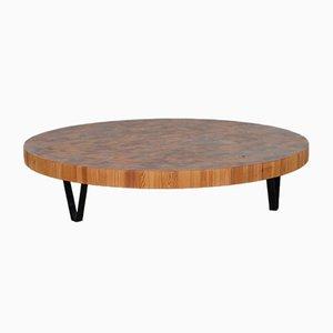 Mid-Century Wood Inlayed Club Table