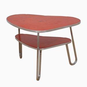 Mesa de centro vintage roja con forma de riñón