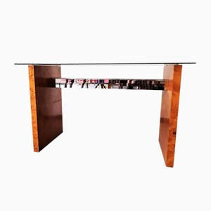 Burl & Glass Console Table, 1970s