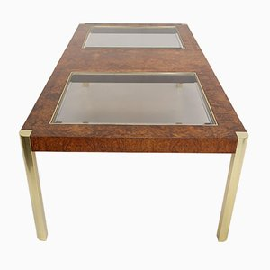 Burl, Brass & Glass Dining Table from Century Furniture, 1970s
