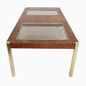 Mesa de comedor de nudo de árbol, vidrio y latón de Century Furniture, años 70