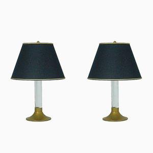 Lampade da tavolo vintage in ottone e plexiglas, Italia, set di 2