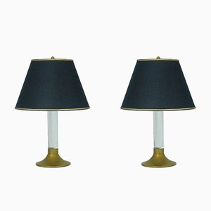 Vintage Italian Brass & Plexiglass Table Lamps, Set of 2
