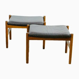 Danish Teak and Leather Stools from Spottrup, 1960s, Set of 2