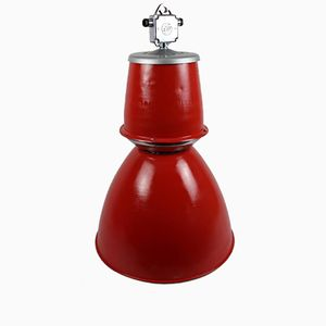 Industrial Enameled Red Factory Lamp