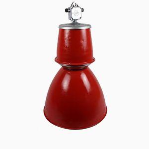 Lampe Industrielle d'Usine Rouge Emaillée
