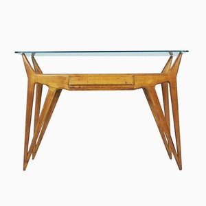 Italian Organic Wood and Glass Console, 1940s