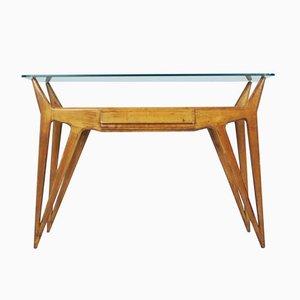 Table Console en Bois Biologique et Verre, Italie,1950s